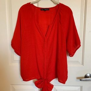 Heart Soul Red Tie Front Top